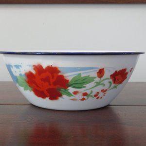 Enamel Ware Bowl, Enamelware, Bumper Harvest, Made in China, Red Flowers